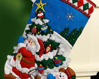 "Bucilla Pick A Tree ~ 16"" Felt Christmas Stocking Kit #86440 Frosty, Santa DIY"
