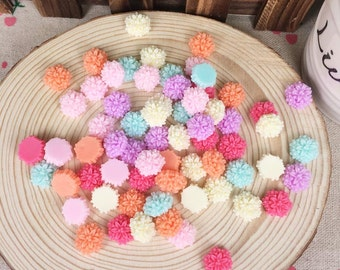 100Piece Mixed Color Resin Flatback Flat Back Cabochon Kawaii DIY Resin Craft Decoration Resin Flower Cabochon For Handmade Accessories 12mm