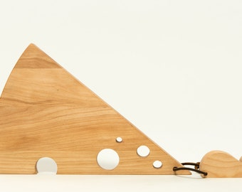 Wood Cheese and Cutting Board with Mouse Ornament