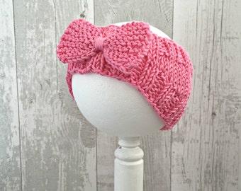Pink Baby Headband, Knitted Newborn Baby Girl Headband, Summer Headband Baby, Vegan Baby Clothes, 1st Birthday Gift Girl, Baby Girl Items