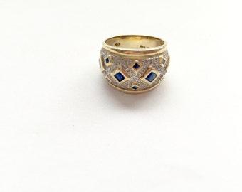 14 Karat Ladies Pave Diamond and Sapphire Band/Ring Gold