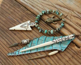 Eron nomad tribe primitive asymmetrical earrings