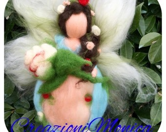 fairy in waldorf style, in fairy wool. made to order