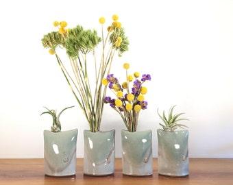 celadon green pillow vase / air plant holder / bud vase