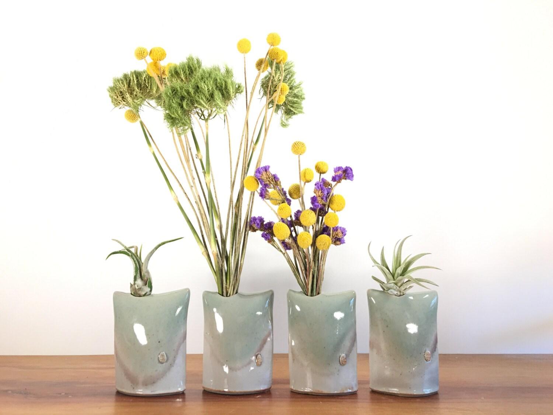 Celadon green pillow vase air plant holder bud vase for Air vase