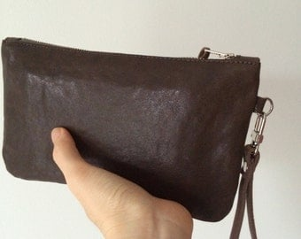 SALE!! Leather Small Clutch / Leather mini bag with wrist strap  / Leather Pouch / Gifts