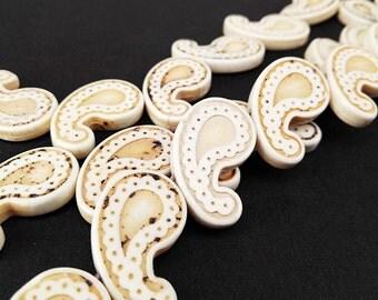 Full Strand 18pcs 28x16mm Ivory Howlite Paisley Beads Paisley Shape Beads