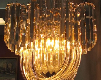 MId Century Hollywood Regency Lucite Chandelier with Deco Influence
