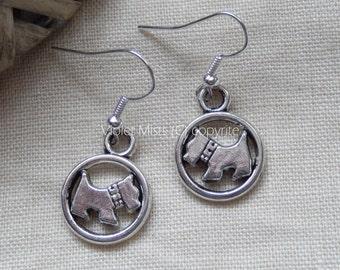 Cute Scottie Dog Tibetan Silver Drop Earrings