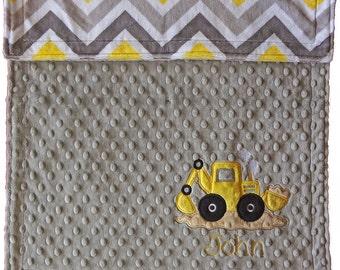 Personalized Baby Blanket, Chevron Construction blanket, Digger Truck Minky Blanket, Backhoe Baby Blanket