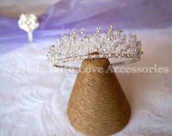 Tiara - Handmade Swarovski Crystal & Swarovski Pearl Tiara  - Amelia