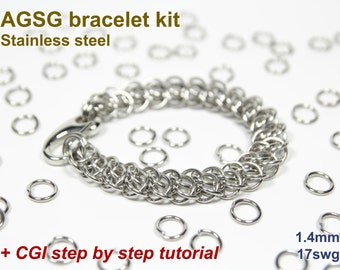 AGSG Bracelet Kit, Chainmaille Kit, Stainless Steel, Chainmail Kit, Jump Rings, Lobster Clasp, Chainmaille Bracelet Kit, Chainmail Tutorial