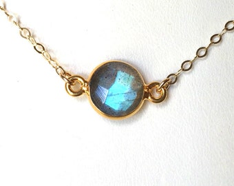Labradorite Choker Necklace, Delicate Everyday Gray Labradorite necklace, Gold Filled or Sterling Chain
