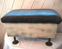 Distressed leather upholstered stool, storage ottoman, upcycled industrial foot stool, repurposed stool