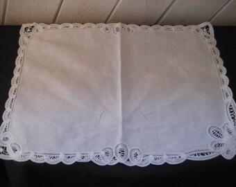 White battenburg lace doilies, large square doily, applique doily,  fabric lace doily, shabby cottage chic decor, 1059