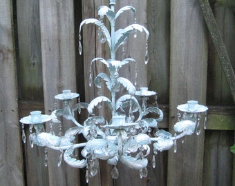 Robin eggs blue distressed candle chandelier, distressed crystal chandelier, taper candles, ornate mid century, shabby cottage chic, 1097