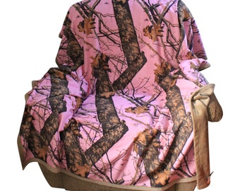 """Pink Mossy Oak Realtree Blanket 56x70"""" Microsuede Camo Front with Soft Plush Microfur Backing Camo Chique Custom Licensed Camouflage"""
