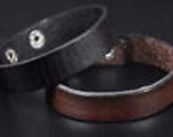 Leather Strap Brown Black Band Bracelet Cuff