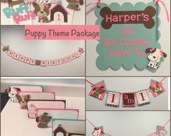 Deluxe Girl Puppy First Birthday Package