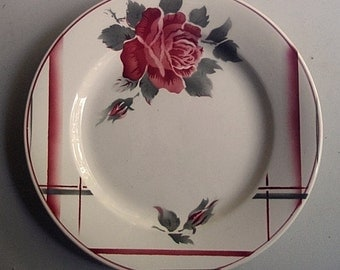 Set of 6 French vintage dinner plates with a rose , signed DIGOIN-SARREGUEMINES Circa 1950