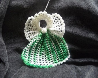 Green and White Crocheted Angel  Ornament