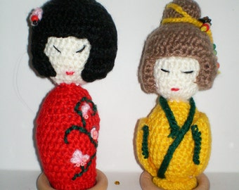2 Japanese Kokeshi Dolls Crocheted
