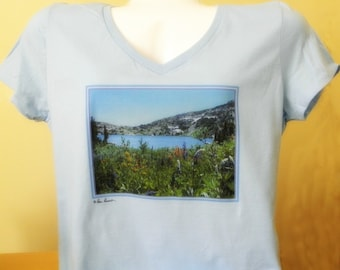 WOMENS Vneck T Shirt created by Pam Ponsart of Pam's Fab Photos featuring High-Altitude Wildflowers on a Azure Blue tee shirt