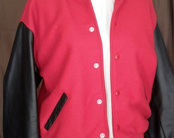College Varsity Jacket..Red WoolBody and Leather Sleeves..