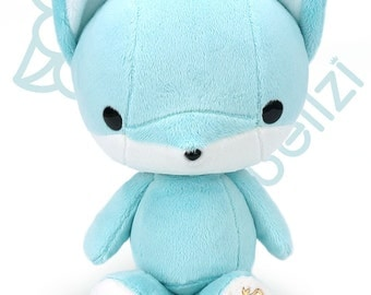"Bellzi® Cute ""Teal"" w/ White Contrast Fox Stuffed Animal Plush - Foxxi"