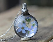 Forget Me Not Necklace Botanical Jewelry Soldered Glass Pendant Pressed Flower Terrarium Blue Flower Spring Natural Woodland Jewelry Rustic