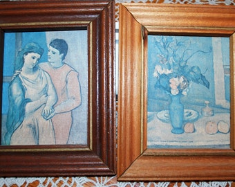 "National Galley Of Art 2 Pc Set The Lovers & The Blue Vase 5"" X 6"" Framed Art"