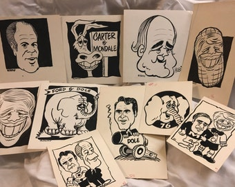 SALE until Labor Day -- 1970s Original Political Art, 1976 Presidential Campaign, 10-pieces