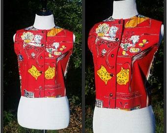 Doncaster Viva La France Lipstick Red Vest with Cafe Scene//Designer Vintage Vest or Sleeveless Top for Ladies Size 6 I Summer Beach Top