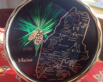 Vintage Maine metal souvenir tray