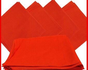 """Orange Solid Bandanas -  27"""" x 27"""" 12 Pack (extra large) 100% Cotton"""