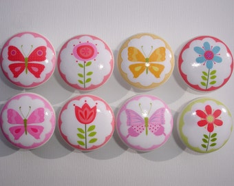 Butterfly and Flower Dresser Drawer Knobs Set of 8