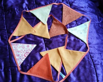 Recycled and Vintage Zesty Bunting in Oranges and Yellows