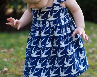 Girls Flutter Sleeve Dress- Bluebird