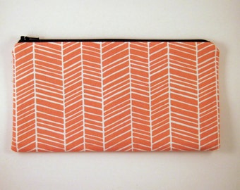 Orange Herringbone Zipper Pouch, Make Up Bag, Pencil Pouch, Gadget Bag