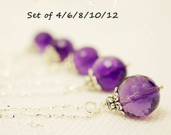 Bridesmaid's Necklace Set - Bridesmaid Amethyst Jewelry - Bridesmaid Gift - Tiny Fashion Amethyst Necklace - Tiny Silver Stone Necklace