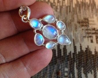 MOONSTONE SALE: Rare Vintage Rainbow Moonstone Pendant & Necklace-Rainbow Moonstone Pendant Necklace-Rainbow Moonstone Necklace