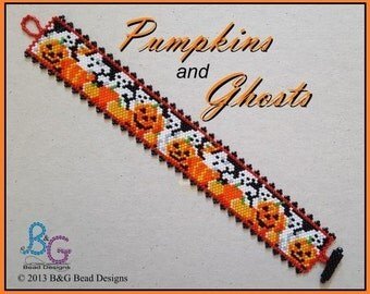 PUMPKINS and GHOSTS Peyote Cuff Bracelet Pattern