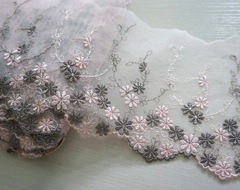 """4.5"""" (12cm) pink embroidered tulle net lace trim - 3yd"""