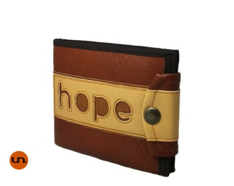 Statement, Hope, Handmade Personalized Wallet, Vegan Friendly, Vegan Leather Wallet, Mens Leather Wallet, Bifold, Billfold, Unique, UNUSUAL