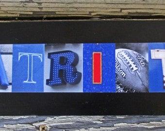 New England Patriots Football team Superbowl winner football gift letter art alphabet