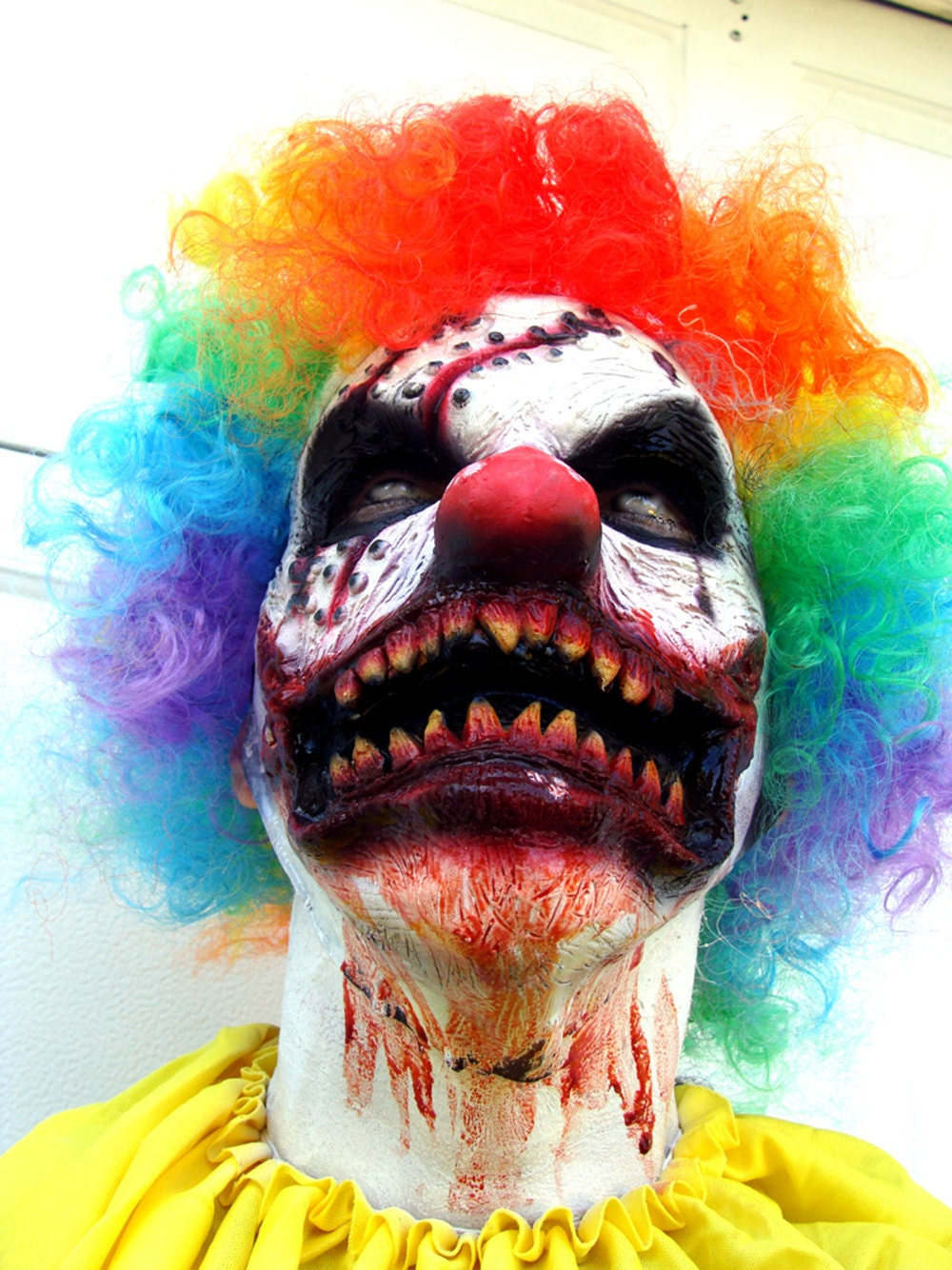 ZOMBIE Clown Costume STITCH Latex Prosthetic Mask Killer Clown