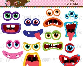 40% Off! Monster faces Clip Art Instant Download