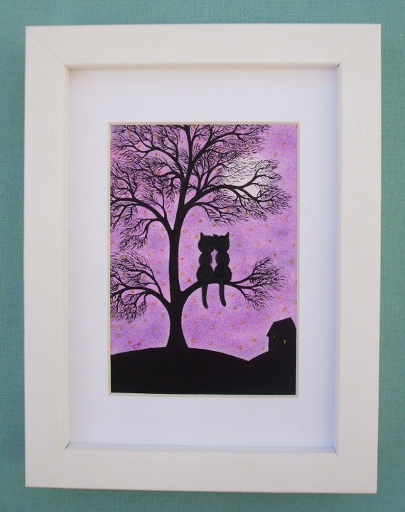Wedding Gift Framed Art : Cat Tree Print, Framed Cat Art, Wedding Cat Gift, Romantic Tree Cats ...