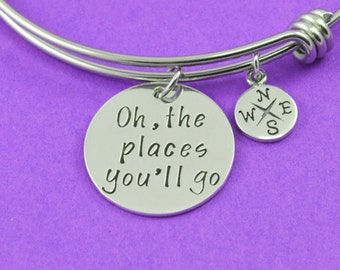Oh, the Places You'll Go Adjustable Bangle Bracelet - Stacking Bangle