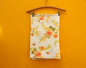 Victorian Roses Vintage Floral Flat Sheet 72 inch x 96 inch  [Shabby Chic Cotton Crisp Retro Orange Pink Roses Linen Bedding Sheets Fabric]